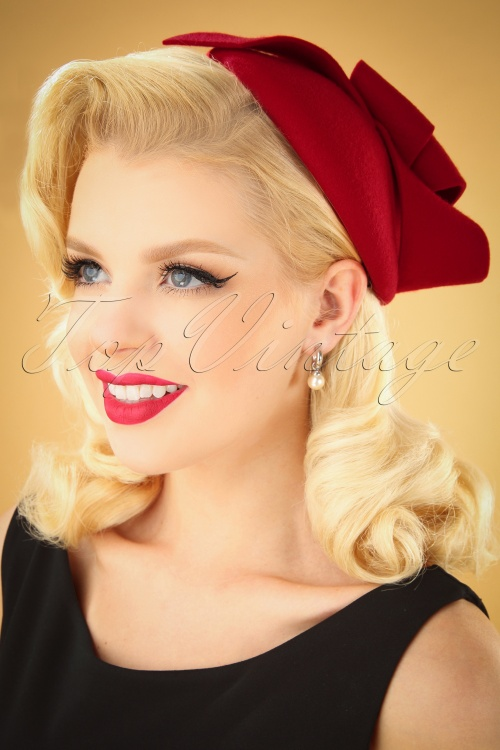 Collectif 30480 Florence Wool Fascinator Hat Red 040M W