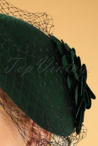 Collectif 30479 Sammy Wool Fascinator Hat Green 040M W2