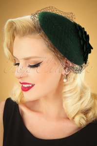 Collectif 30479 Sammy Wool Fascinator Hat Green 040M W