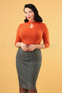 50s Tisha Stripes Pencil Skirt in Grey and Black