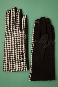 50s Golightly Houndstooth Gloves in Black and White