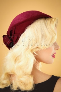 Collectif 30482 Salma Wool Flat Cap Hat Burgundy 041M W