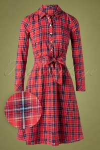 King Louie 60s Sheeva Cowgirl Dress in Check Red