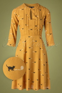 Marcie Cat And Ball Dress Années 60 en Moutarde