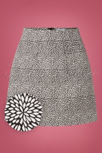Banned Retro 60s Jacky Jacquard Mini Skirt in Black and White