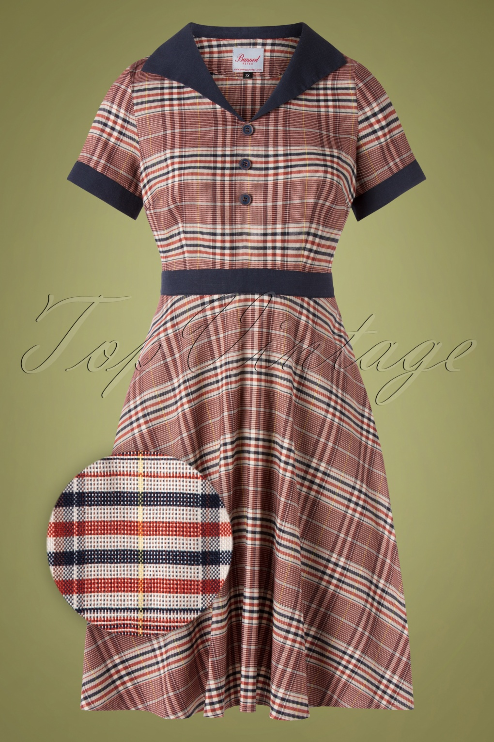 Fifties Dresses : 1950s Style Swing to Wiggle Dresses 50s The Classic Swing Dress in Multicheck £52.06 AT vintagedancer.com