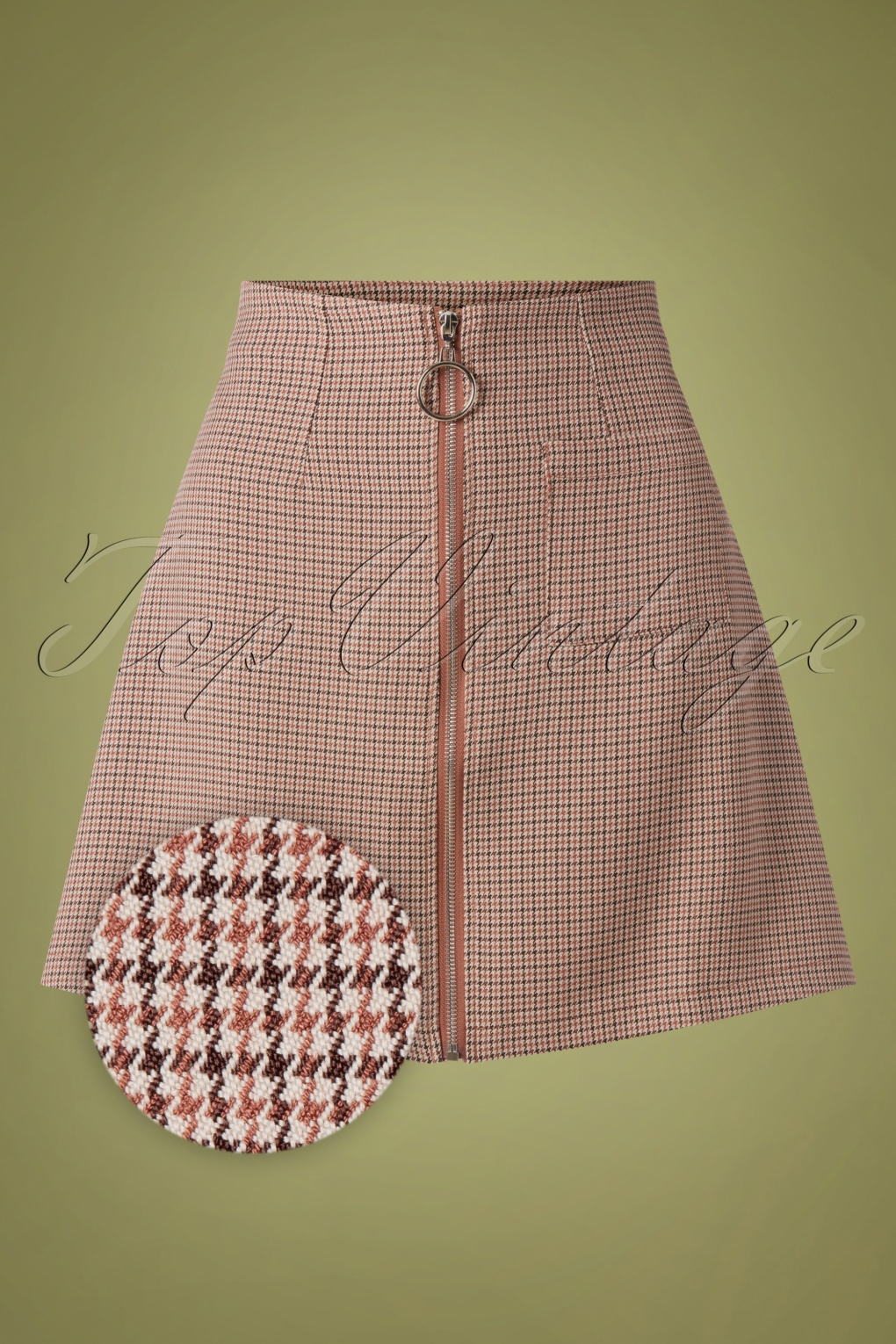 1960s Style Dresses, Clothing, Shoes UK 60s Betty Winter Mini Skirt in Houndstooth Brown £28.48 AT vintagedancer.com