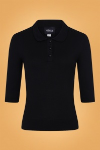 Collectif Clothing 50s Jorgie Knitted Polo in Black