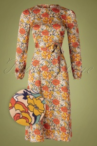 Traffic People 70s Moodless Floral Dress in Beige