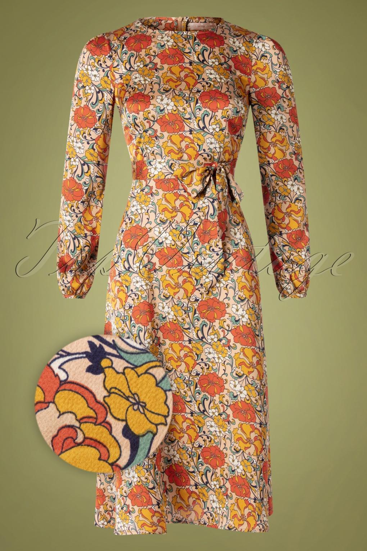 70s Dresses – Disco Dress, Hippie Dress, Wrap Dress 70s Moodless Floral Dress in Beige £94.24 AT vintagedancer.com