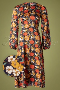 Traffic People Moodless Floral Dress Années 70 en Bleu Marine