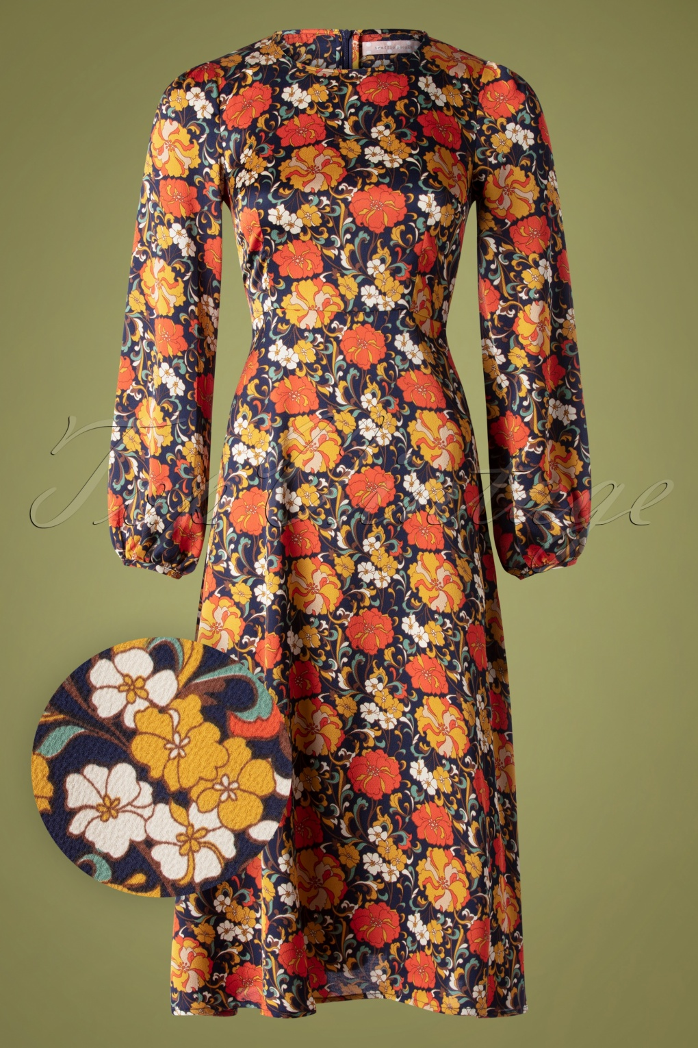 Vintage Inspired Dresses & Clothing UK 70s Moodless Floral Dress in Navy £93.55 AT vintagedancer.com