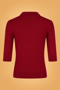 Collectif 31215 Jorgie Knitted Polo in Red 20190816 021LW