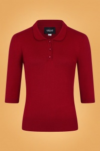 Collectif Clothing 50s Jorgie Knitted Polo in Red