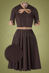 Miss Candyfloss 40s Lea Dora Swing Dress in Brown