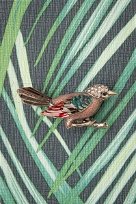 Darling Divine 50s Beautiful Bird Brooch in Silver