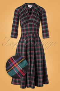 50s Vedette Lou Tartan Swing Dress in Black
