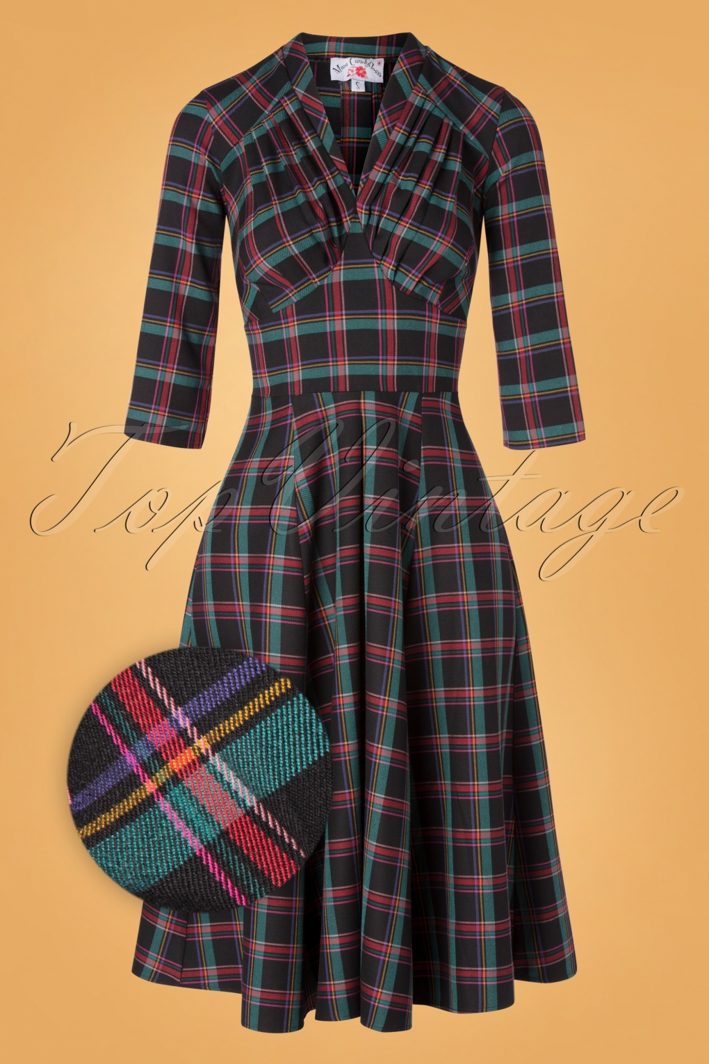 50s Dresses UK | 1950s Dresses, Shoes & Clothing Shops 50s Vedette Lou Tartan Swing Dress in Black £89.43 AT vintagedancer.com