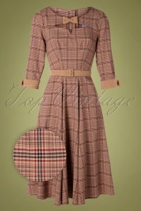 Sylvana Tartan Swing Dress Années 50 en Beige