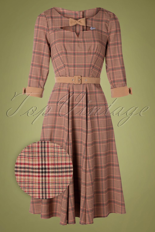 Fifties Dresses : 1950s Style Swing to Wiggle Dresses 50s Sylvana Tartan Swing Dress in Beige £101.85 AT vintagedancer.com