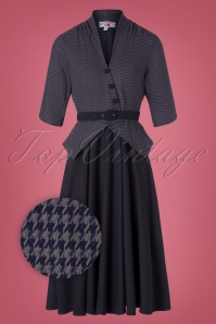 Miss Candyfloss 40s Panna Lee Houndstooth Swing Dress in Navy