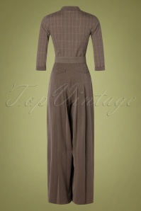 Miss Candyfloss 31057 Jumpsuit Brown Tartan 07112019 000013W
