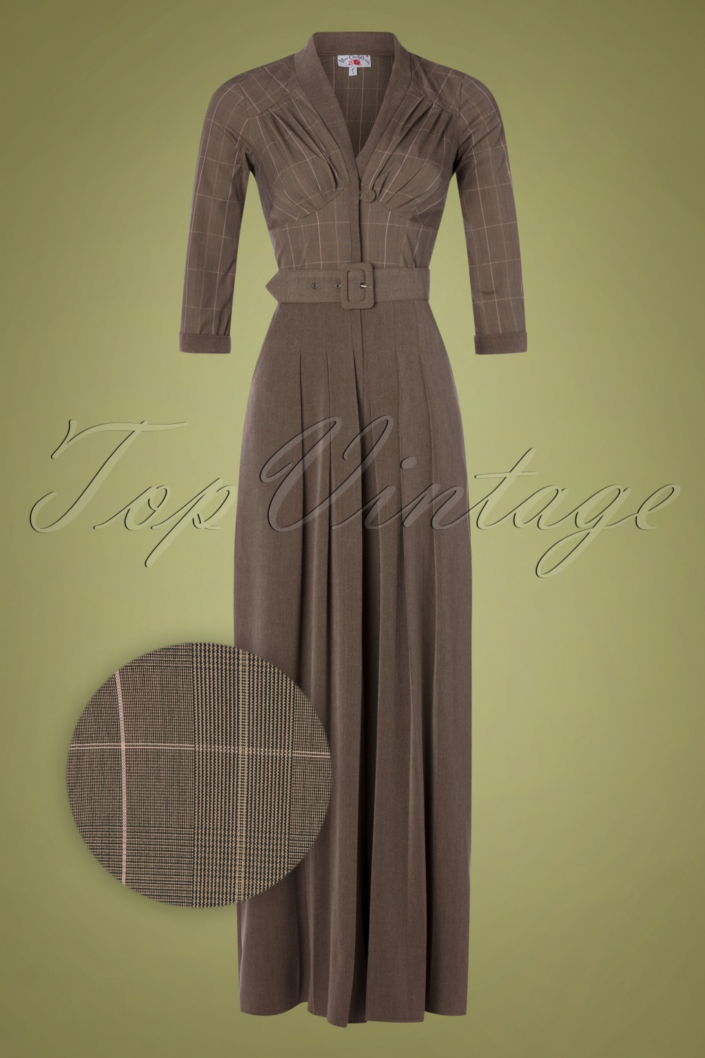Vintage High Waisted Trousers, Sailor Pants, Jeans 40s Gigi Tartan Jumpsuit in Brown £101.44 AT vintagedancer.com