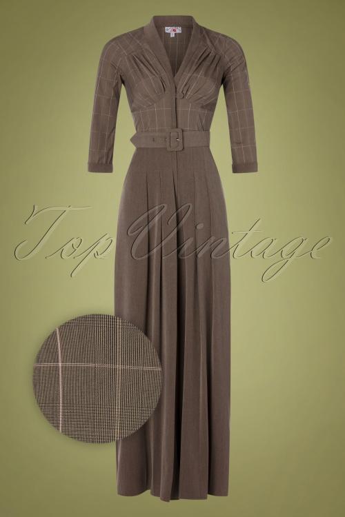 Miss Candyfloss 31057 Jumpsuit Brown Tartan 07112019 000004Z