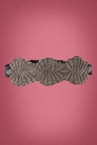 50s Beaded Leaf Belt in Black