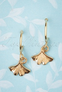 50s Small Fan Earrings in Gold