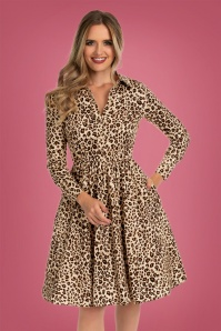 Hearts & Roses 50s Leandra Swing Dress in Leopard