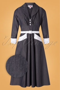 Miss Candyfloss 50s Rosaleen Lee Swing Dress in Navy and White