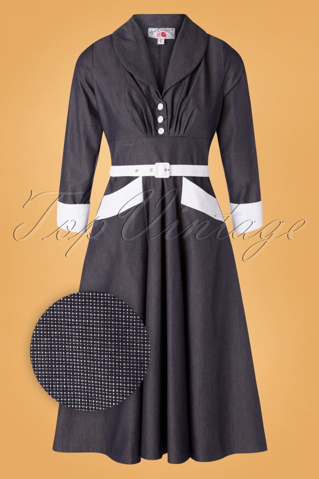 Fifties Dresses : 1950s Style Swing to Wiggle Dresses 50s Rosaleen Lee Swing Dress in Navy and White £97.70 AT vintagedancer.com
