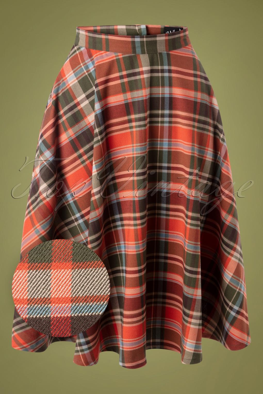 1940s Dresses and Clothing UK | 40s Shoes UK 50s Oktober Tartan Swing Skirt in Orange £42.16 AT vintagedancer.com