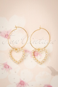 50s Pearl Love Earrings in Gold