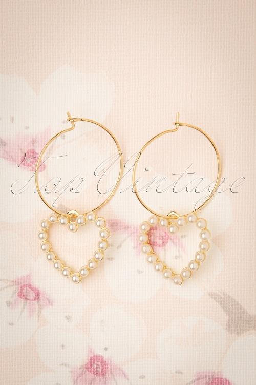 Darling Divine 31336 Earrings Pearl Gold Heart 190814 003W