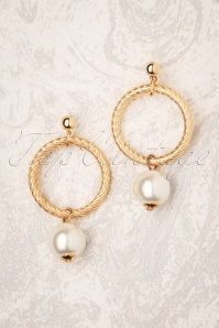 Oh My Pearl Earrings Années 50 en Doré