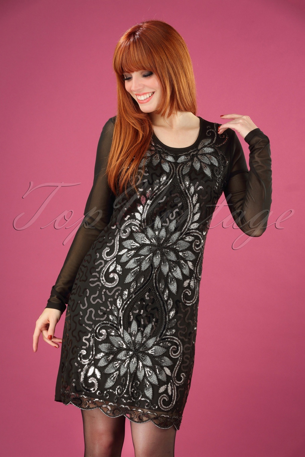 Vintage Inspired Dresses & Clothing UK 20s Lillian Sequin Dress in Black £53.44 AT vintagedancer.com