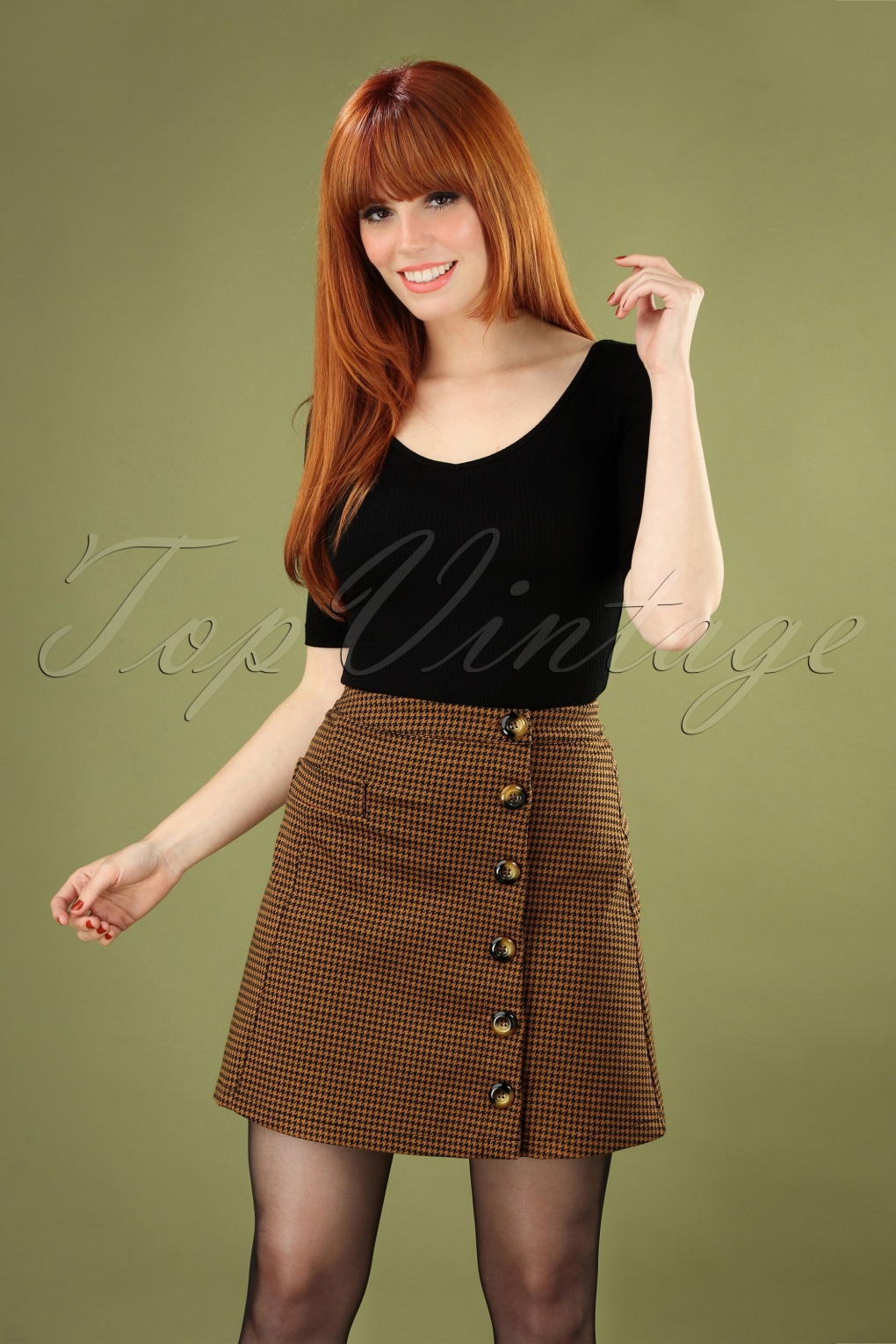 Vintage Inspired Dresses & Clothing UK 60s Beatrice Houndstooth Skirt in Tobacco £27.59 AT vintagedancer.com