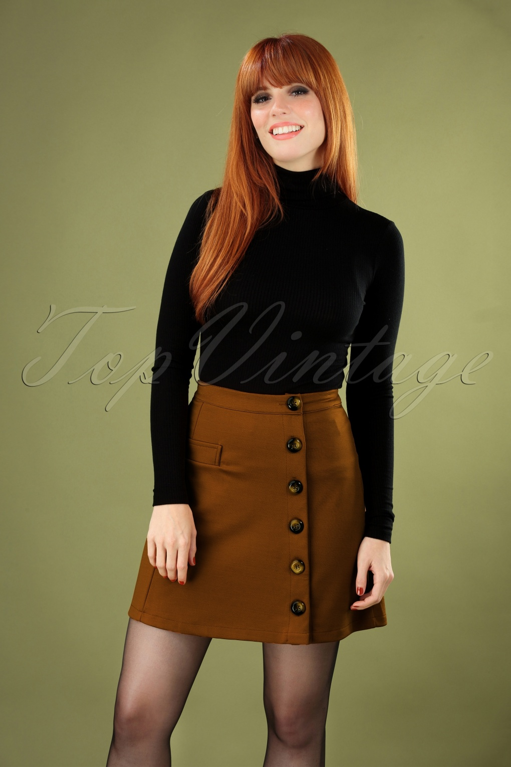 Retro Skirts: Vintage, Pencil, Circle, & Plus Sizes 60s Beatrice Skirt in Tobacco £24.67 AT vintagedancer.com