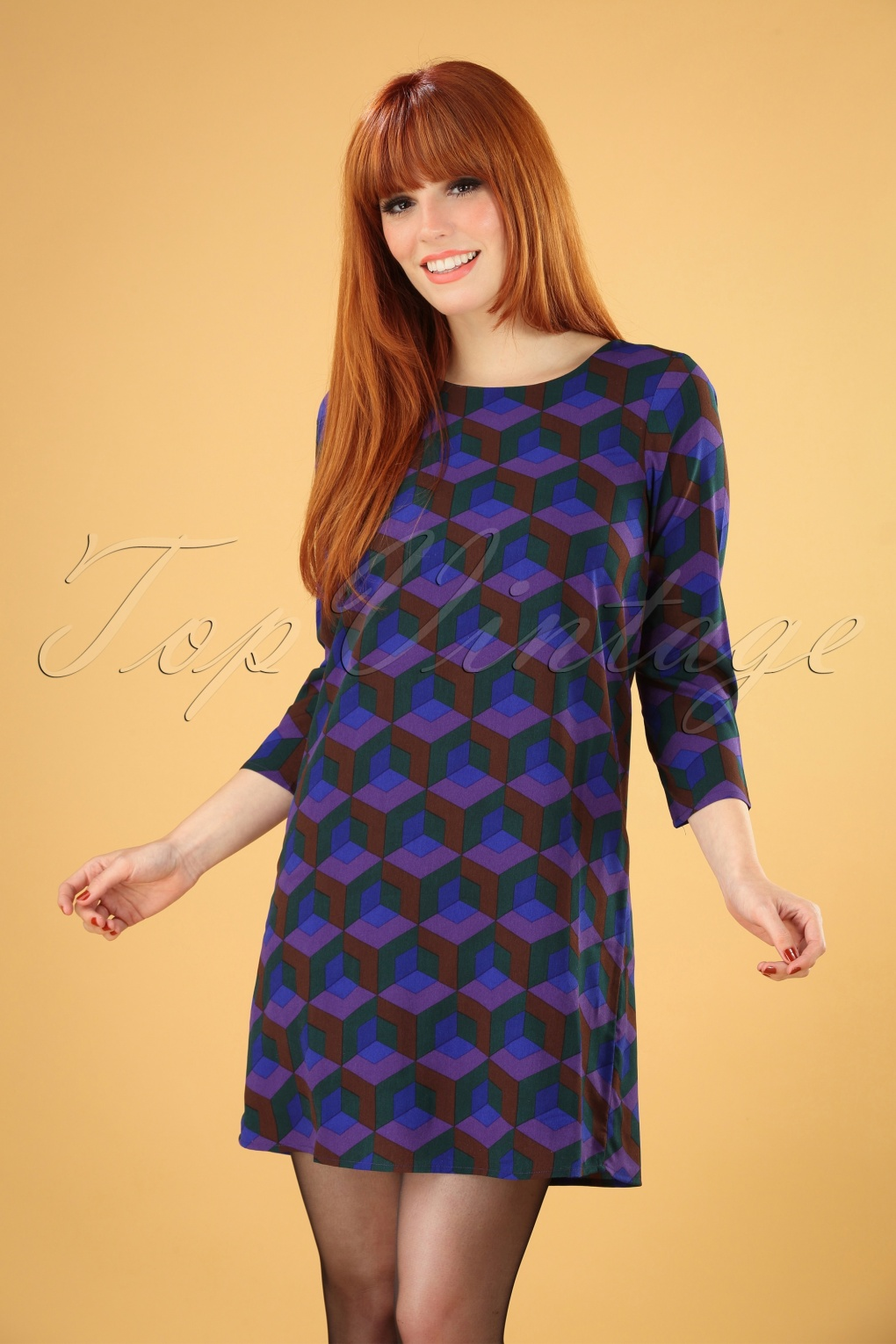1960s Style Dresses, Clothing, Shoes UK 60s Verna Graphic Dress in Blue £44.85 AT vintagedancer.com