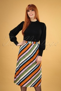 Compania Fantastica 29712 Falda Skirt Striped Orange Green Pink Blue 20190805 040M W
