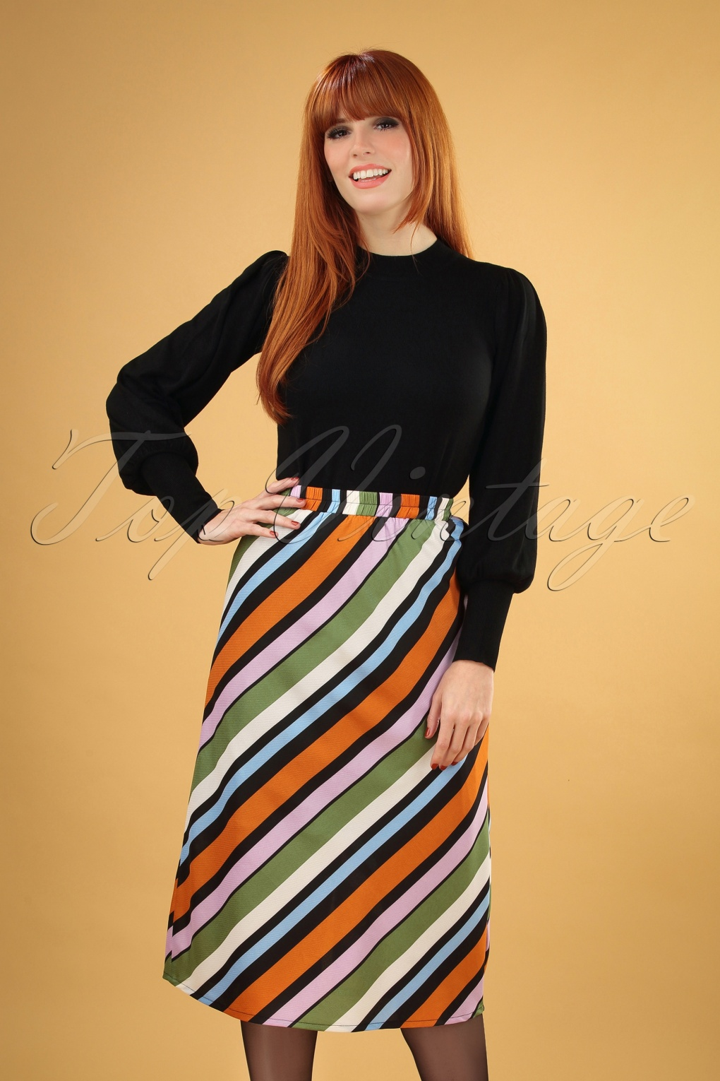 1960s Style Dresses, Clothing, Shoes UK 70s Staci Stripes Skirt in Multi £35.87 AT vintagedancer.com