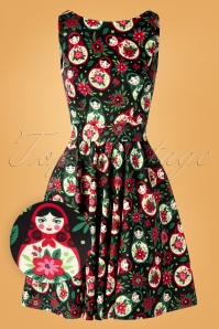 Lady V by Lady Vintage 50s Matryoshka Tea Dress in Black