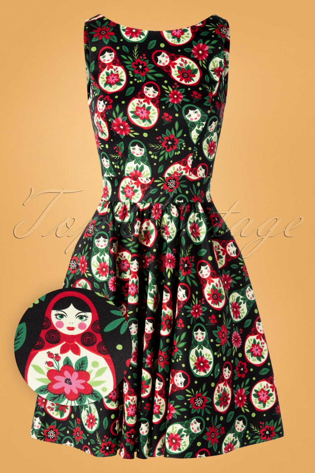 Vintage Christmas Gift Ideas for Women 50s Matryoshka Tea Dress in Black £62.35 AT vintagedancer.com