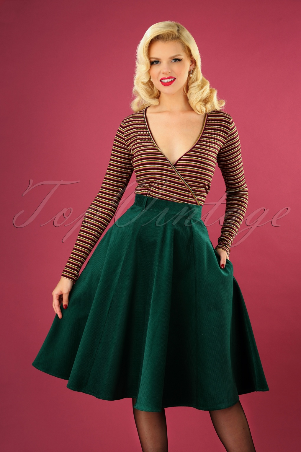 1940s Style Skirts- Vintage High Waisted Skirts 70s Jefferson Swing Skirt in Dark Green Corduroy £57.08 AT vintagedancer.com