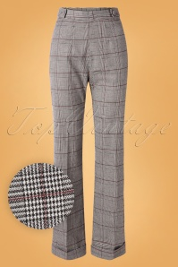 Banned Retro 40s The Classy Tartan Trousers in Grey