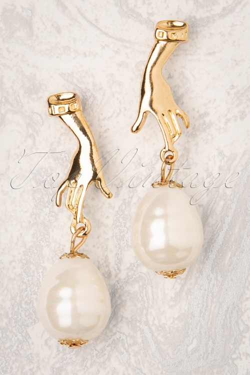 Darling Divine 31332 Earrings Gold Pearl Hand 190814 002W