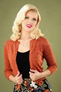 Collectif 31216 Leah Vintage Leaves Cardigan in Burnt Orange 20190715 040MW