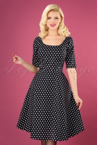 50s Amber Polkadot Swing Dress in Black